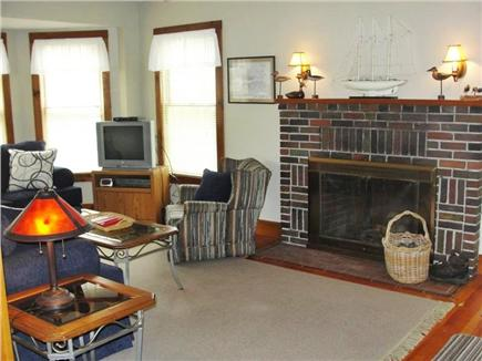 Falmouth Heights Beach Cape Cod vacation rental - Living Room w/TV and gas Fireplace