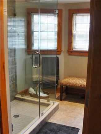 Falmouth Heights Beach Cape Cod vacation rental - New Master Bathroom w/glass shower enclosure & granite dual sinks
