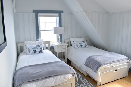 Dennisport Cape Cod vacation rental - 2nd floor: BR #2 with two Twin Beds with view of the ocean