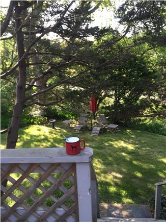East Orleans Cape Cod vacation rental - Morning coffee on the main deck area