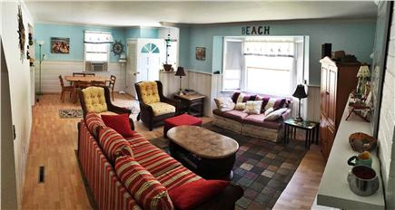 North Eastham Cape Cod vacation rental - Bright and cheery living room with flat screen tv