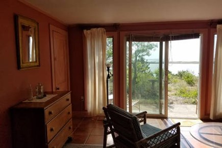 Wellfleet Cape Cod vacation rental - Master bedroom, sitting room with private patio and bay view