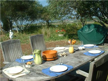 Wellfleet Cape Cod vacation rental - Dine on the secluded Waterfront Patio with lawn to bluff