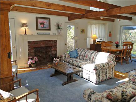 East Orleans Cape Cod vacation rental - Comfortable, bright living room with vaulted ceiling & fireplace