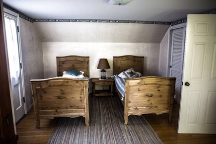 Brewster Cape Cod vacation rental - Upstairs twin bedroom w small balcony and view of Cape Cod Bay