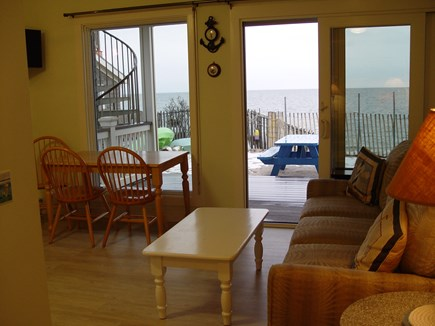Truro Cape Cod vacation rental - Dinning room looking out at the deck and water