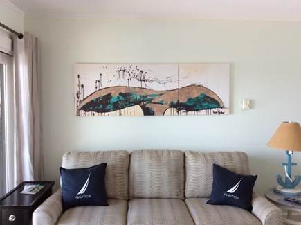 Truro Cape Cod vacation rental - Living room with Olympic Queen memory foamsleep sofa