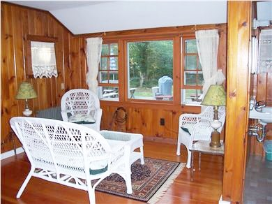 Eastham Cape Cod vacation rental - Gather in the family room on our wicker set for 4!