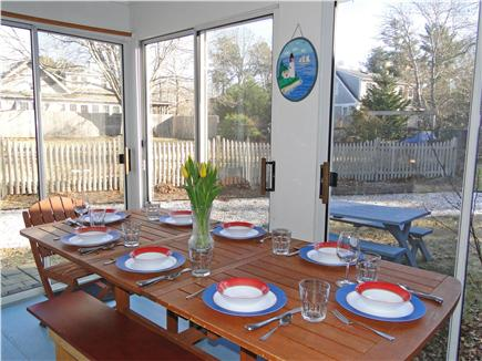 Brewster Cape Cod vacation rental - Dining porch with expandable table, overlooks back yard