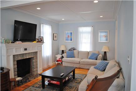 Falmouth Cape Cod vacation rental - Living room with gas fireplace and flat screen TV.