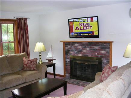 Mashpee Cape Cod vacation rental - Fireplaced Living Room -  has 43'' Flat Screen Plasma HD TV