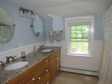 Falmouth, Sippewissett Cape Cod vacation rental - Upstairs bath with tub/shower combo and double sinks