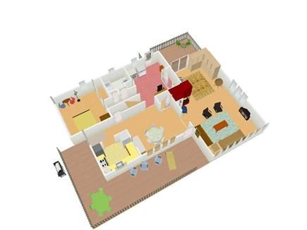 East Sandwich Cape Cod vacation rental - First floor plan; 3 dimensional.