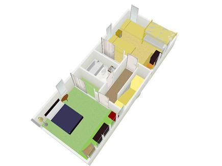 East Sandwich Cape Cod vacation rental - Second floor plan; 3 dimensional.