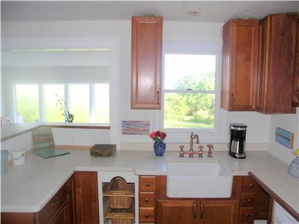 Yarmouthport Cape Cod vacation rental - The kitchen features a ceramic sink & copper faucets