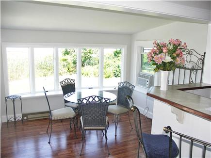 Yarmouthport Cape Cod vacation rental - The breakfast nook has a bay window framing the view.