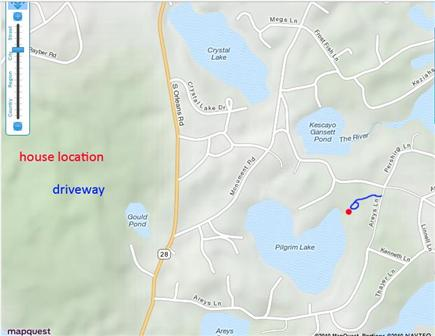 Orleans Cape Cod vacation rental - Map showing location on Pilgrim Lake