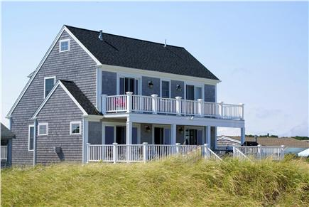 Sandwich Cape Cod vacation rental - Mulit-level decks on the ocean side of the house.