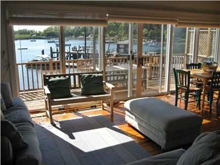 Woods Hole, Quissett Harbor Woods Hole vacation rental - Dining area with views out glass slider wall to Harbor