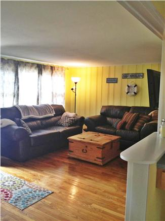 South Yarmouth Cape Cod vacation rental - New comfy  leather furniture with queen pullout,  40'' TV