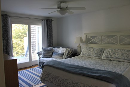 West Falmouth Cape Cod vacation rental - Bedroom 1st floor (king bed) with slider to deck