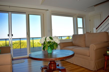 Orleans Cape Cod vacation rental - Ocean view living room with sliding door to deck