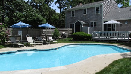 Brewster, The Highlands on Seymours Pond Cape Cod vacation rental - Fenced in Backyard with Heated In-ground Pool