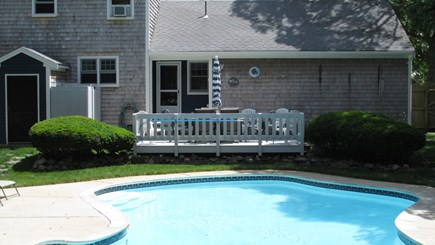 Brewster, The Highlands on Seymours Pond Cape Cod vacation rental - Deck Area Overlooking Pool