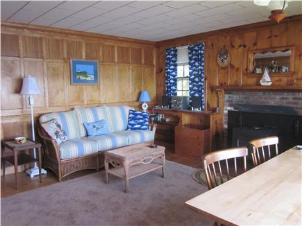 Mashpee Cape Cod vacation rental - The sofa for relaxing after a meal at the dining table.