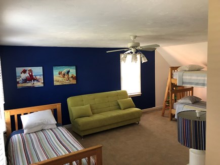 Brewster Cape Cod vacation rental - 2nd level kids room with games and flat panel TV.  4 twin beds