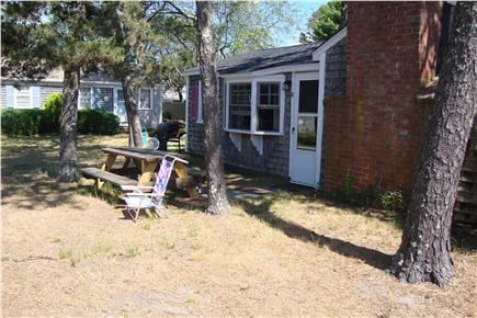 dennis port Cape Cod vacation rental - Picnic table in back yard for BBQ's