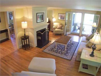 West Barnstable Cape Cod vacation rental - The main level living room opens to the expansive deck
