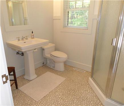 Wellfleet Cape Cod vacation rental - Master Bath with Indonesian river stone floor
