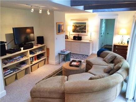 Pocasset Pocasset vacation rental - Family / TV room with sliders to deck and beautiful back yard