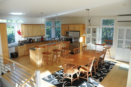 Wellfleet Cape Cod vacation rental - Open kitchen and dining area with high ceilings