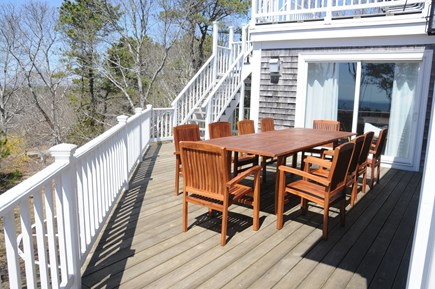 Wellfleet Cape Cod vacation rental - Teak table and umbrella (not shown).  Stairs lead to roof deck.