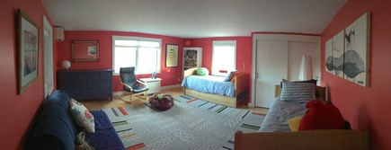 Wellfleet Cape Cod vacation rental - Kids room with A/C has three twins and child's full sized futon