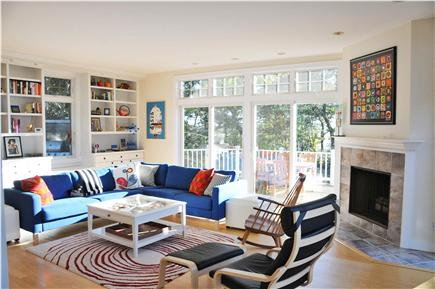 Wellfleet Cape Cod vacation rental - Living area with sunset views and access to decks/grill