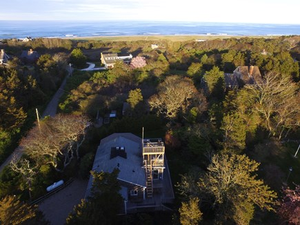 East Orleans Cape Cod vacation rental - Aerial view with house at bottom