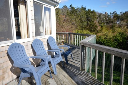 East Orleans Cape Cod vacation rental - Decks overlooking gardens and view of ocean