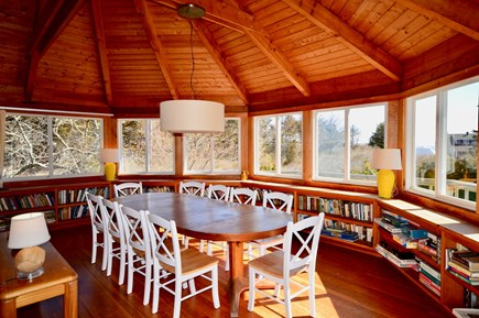 East Orleans Cape Cod vacation rental - Dining for 10 with water views and sliders onto the deck