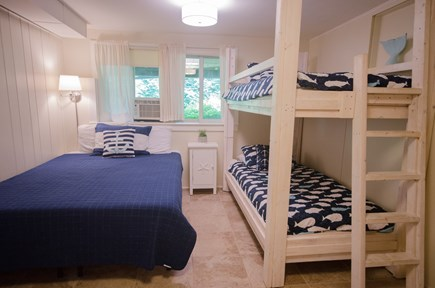 East Orleans Cape Cod vacation rental - Downstairs bedroom with Queen and 2 Twins AC new paint and lights