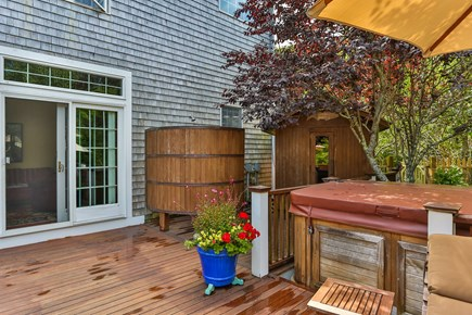 Orleans Cape Cod vacation rental - The barrel shaped outdoor shower, the hot tub and the dry sauna