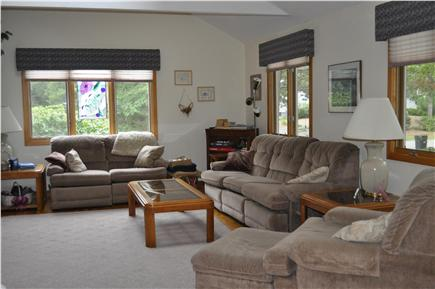 Mashpee Cape Cod vacation rental - Large open FR, cathedral ceiling, new leather furniture not shown