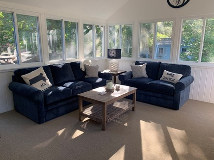 Dennis Cape Cod vacation rental - Family/Sunroom with sofa, loveseat and dining area