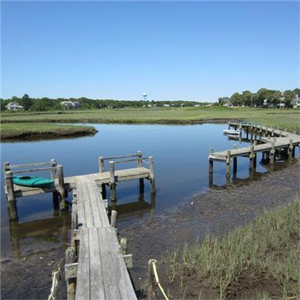 Dennisport Cape Cod vacation rental - Dock with kayaks on Swan River