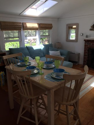 Wellfleet Cape Cod vacation rental - Comfortable living room with fireplace and skylights.