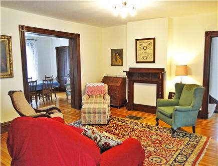 East Dennis Cape Cod vacation rental - Living room adjacent to dining room and family room