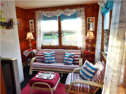 Dennisport Cape Cod vacation rental - Enclosed Porch with many windows & Cable TV/DVD