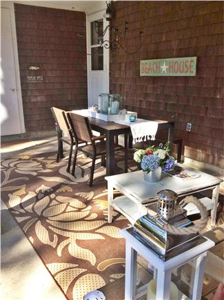 Dennis, Beach Street @ Mayflower beach Cape Cod vacation rental - Have your morning coffee or breakfast on side porch/patio table